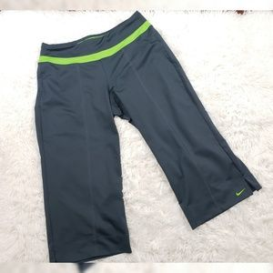 Nike Capri Pants Lime Green and Gray Size Med